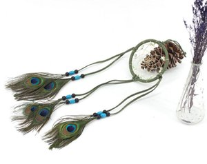 Dream Catcher Campanelli eolici Turquoise Handmade Beaded Peacock Feather Dreamcatcher Wall Hanging Decor Ornament Craft B951L