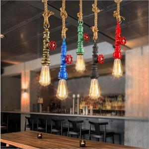 DIY 로프트 레트로 산업용 빈티지 Steampunk 워터 파이프 다채로운 펜던트 램프 e27 홈 로프 라이트 술집 식당 다이닝 룸