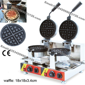 Frete Grátis Uso Comercial Não-stick 110 v 220 v Dupla Rotação Elétrica Rodada Padrão Waffle Belga Máquina de Baker Máquina De Molde de Ferro