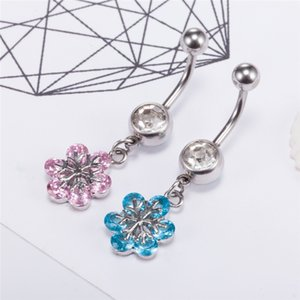 316L Surgical Steel Sexy White Gold Plated Crystal Zircon Snowflake Belly Navel Ring Piercing Jewelry Belly Bar Button Body Jewelry P0293