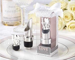 Nuevo 2 en 1 de acero inoxidable Love Wine Bottle Pourer Stopper Regalos de boda nupcial fiesta de la ducha regalo presente