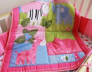 Baby Girls 침구 세트 Pink cotton Crib 침구 세트 자수 코끼리 하마 얼룩말 침대보 침구 세트 Quilt Bumper