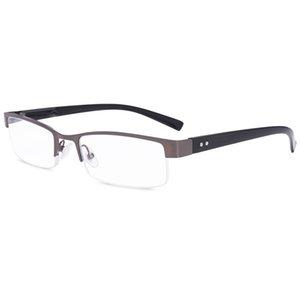 Читатели Очки для чтения Металл Высокий Deluxe Rectangular Half Frame Бизнес Мужчины Серый