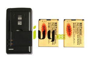 استبدال 2PCS BL4D BL 4D BL4D 2680mAh البطارية الذهب + Unviersal USB الجدار شاحن لنوكيا N97mini N8 E5 E7 702T T7-00 N5 808 702T T7