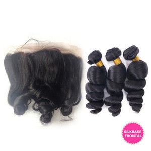 8A Loose Wave With Silk Base Lace Frontal Closure 13*4 Ear To Ear Silk Top 4*4 Full Lace Frontals With Bundles 4pcs lot