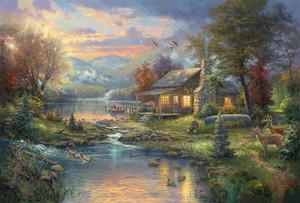 Le Giclee Art Peintures Sur Toile Huile Le Thomas Kinkade Emmêlé Christma Cuadros decoracion Maison Portrait Mur Art Affiches Affiches Encadrés