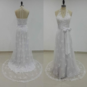 Stunning Bohemian Country Wedding Dress Sequins Beads Lace Halter Neck Sleeveless Beach Bridal Gowns with Sash Sweep Train Custom Made