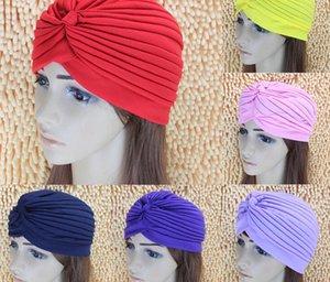 Moda mujer señora Stretchy poliéster Turban Head Wrap Band Bandana Hijab plisado estilos indios Caps musulmanes ducha Cap