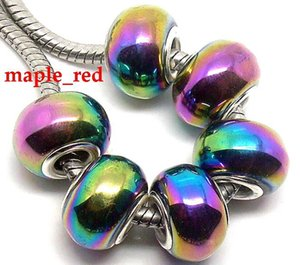 Wholesale 50pcs Fashion Colorful Plated AB Design Lampwork Glass Beads Silver Plated Fit European Charm Bracelet
