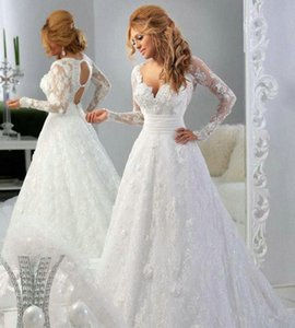 Lace Sheer Illusion Long Sleeves A-line Wedding Dresses 2019 Sweetheart Beaded Hollow Back Applique Sexy Plus Size Court Train Bridal Gowns