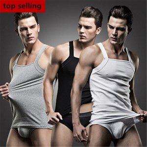 Wholesale-2015 New Arrival Super Body Fashion Sexy Mens Tank Tops + Briefs Cotton Solid Vest Slash Neck T-Shirt Sports Clothes Men MTT019