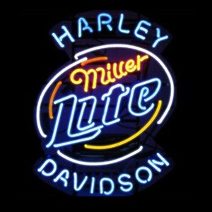 Brand New Miller Lite Harley Davidson Vidro Real Neon Sign Cerveja luz