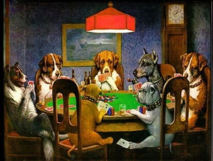 Perros enmarcados que juegan mahjong, pintura al óleo abstracta moderna del arte animal pintado a mano puro en el tamaño de la decoración para el hogar de la lona de la alta calidad puede personalizar