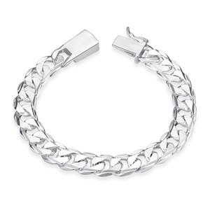 Gümüş Doldurun Moda Bilezik Erkekler / Boys 925 Ayar Gümüş Takı Curb / Figaro Zincirler Geometrik Modelleme Gümüş Bilezik