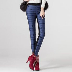 Women Winter Long Pants Trousers High Fleece Waisted Outer WearSlim Warm Thick Duck Down Skinny Pants Trousers
