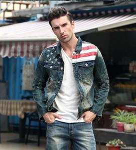Jaquetas homens moda Denims American flag jeans jaqueta jeans Vintage denim casaco com capuz estrela slim homem jeans jaqueta nova