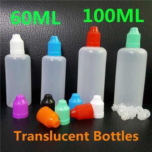 60ml 100ml de jugo de Vape botellas vacías de plástico translúcido aguja cuentagotas PE LDPE prueba de niños de colores Negro Caps para mascotas para E Líquidos Petróleo DHL