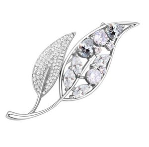 Brooches Fashion Jewelry Women Luxury High Quality Zircon Crystal 18K Gold Plated Leaves Brooch Pins Jewelry Wholesale TB007
