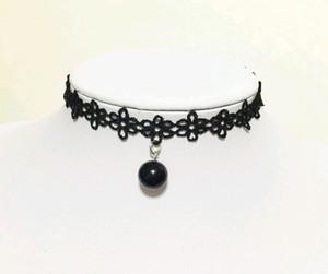 Neue koreanische Spitze Hals Halsketten Kragen Stil Teen Black Velvet Perle Choker Halskette Halsbänder Knochen Goth Rock Drehmomente mit Anhänger