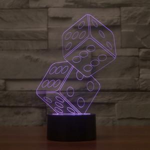 2017 Atacado New Dice 3D Noite Optical luz 9 LEDs Night Light DC 5V Fábrica