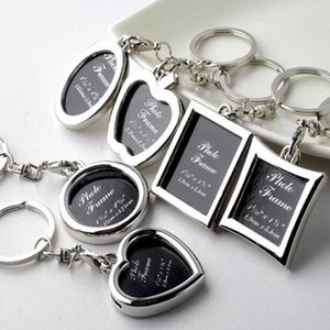 Photo Frame Round Heart Apple Oval Rhombus Shape Metal Alloy Key Chain Keyring Car Keychains Couples Keyring Business Gift
