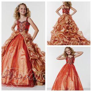 Crianças Formal Pageant Dresses 2017 frisada de cristal com destacável Train drapejado Trem da varredura meninas formais Formal Girls Dress Prom Party