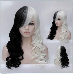 Frete grátis qualidade moda retrato full lace alta perucaswomen longa onda sexy half black e metade branco cosplay anime perucas de cabelo cheio