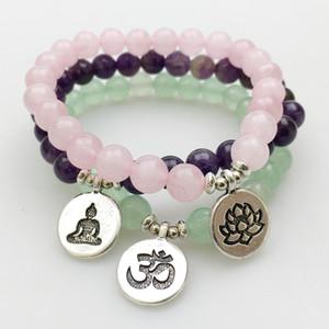 SN1140 Mode frauen Armband Amethyst Grün Aventurin Rosenquarz Mala Armbänder Lotus Ohm Buddha Armband Freies Verschiffen
