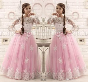 Güzel Pembe ve Beyaz Dantel Çocuklar Bebek Kız Pageant Gençler için Uzun Kollu Tül Kat Uzunluk Prenses Çiçek Kız Elbiseler