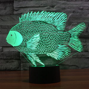 2017 Рыба лампы 3D Сова Optical лампы Night Light 10 светодиодов Night Light батареи DC 5V Красочный 3D лампы