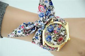 2016 Нью-Женева дамы цветок ткань наручные часы мода женщины одеваются часы высокое качество ткани часы сладкие девочки часы