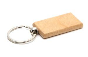 50X Blank Holz-Schlüsselanhänger Rechteck 2.2 '' * 1.19 '' Laser gravierte Personalisierte Holz Schlüsselring # KW01C