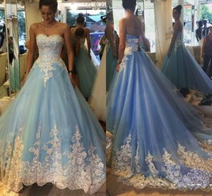 2019 Sky Blue Quinceanera Dresses Sweetheart Princess Appiques 로우 코트 코트 트레인 댄스 파티 이브닝 가운 맞춤식