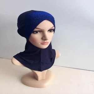 Wholesale-Under Scarf Hat Cap Bone Bonnet Muslim Hijab Islamic Neck Cover Inner Head Wear