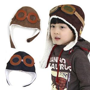 حار بيع الشتاء الطفل أقراط طفل بوي فتاة الطفل الطيارين الطيارين قبعة الدافئة لينة الفاصوليا القبعات الاطفال الدافئة محايدة البازلاء