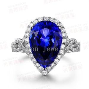 Vecalon poire coupe 8ct saphir simulé diamant Cz fiançailles bague de fiançailles pour les femmes 10kt or blanc rempli bague féminine