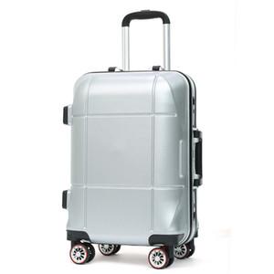 Retro ABS + PC bavul Çanta caster Alüminyum çerçeve arabası bagaj çantaları İş şasi erkekler kadınlar 20 24-inch Seyahat spor şifre kutusu