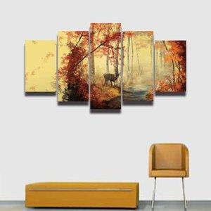 5 Panel de Pintura Lienzo Arte de Pared Deer Forest Landscape Imagen Modular Grande HD Prints Poster for Home Decor Dormitorio de la sala de estar