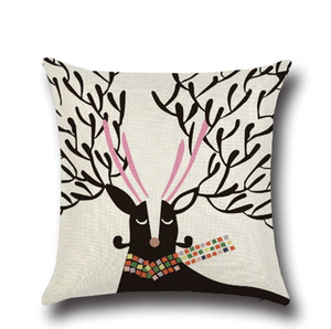 Christmas Pillow Case Decorative Home Decor Linen Sofa Pillowcase Printed Elk Living Room Decoration Ornament Gift Cushion Cover Car