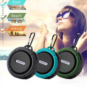Wasserdichter C6 Bluetooth-Lautsprecher Tragbarer Mini-Stereo-Freisprech-Saugnapf Anschluss für Außensportdusche Drahtloser Subwoofer