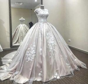 Настоящее изображение Саид Мхамад 2020 Румяна Свадебные платья Арабский Дубай Невеста Халаты бальное платье Винтаж свадебное платье для беременных Беременные свадебные платья