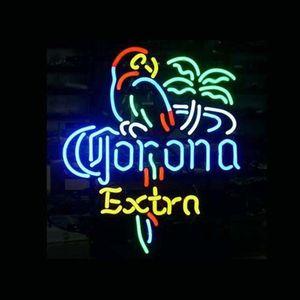 Corona Ekstra Papağan Kuş Sol Pallm Ağacı Bira Bar Pued El Işi Gerçek Neon Işık Işareti