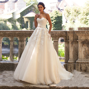 Без бретелек Light Champagne Lace аппликация Кристаллы свадебное платье с Цвет-линии свадебное платье Casamento Платье Noiva Курто