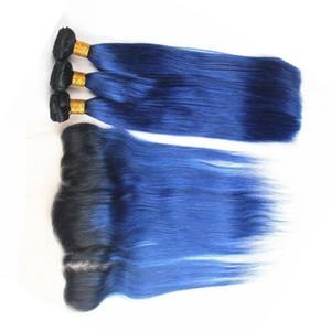 Raízes escuras Azul Lace Frontal Encerramento Com Feixes de cabelo 2 Tom 1B Azul Ombre Em Linha Reta cabelo Peruano Tece Com Laço Frontal