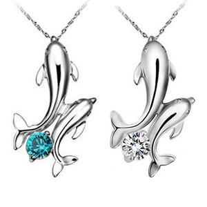 Горячие симпатичные посеребренные двойной дельфины кулон очарование цепи ожерелье ювелирные изделия 5Q5G