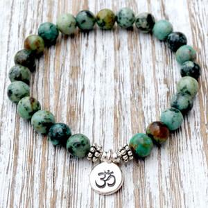 SN1035 Véritable Africain Turquoise Poignet Mala Perles Chakra Bracelet Yoga Bracelet Bouddhiste Prière Guérison Dépression Angoisse Cristaux