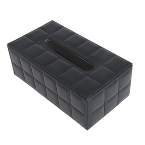 Wholesale- Durable Leather PU Standard Tissue Box Holder For Home Office Car Rectangular C42