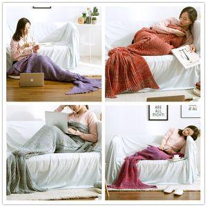 New Fashion Mermaid Tail Blankets Mermaid Sleeping Bags Wave Blanket Bedding Wrap Knit Sofa Blankets B0843 Rueaw