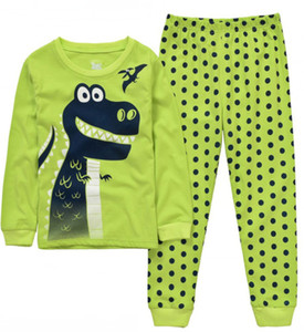 Dinosaur Garçons Pijama Coton Pyjamas pour Enfants Dessin Animé Vêtements De Nuit Pyjamas Filles Siut Longue T-shirt + Pantalon Printemps Pijamas