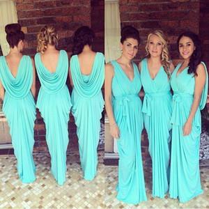 2020 Glowing Teal Turquoise Brautjungfernkleider mit V-Ausschnitt Draped Rüschen Chiffon Backless Junior Lange Mädchen der Ehre Kleider